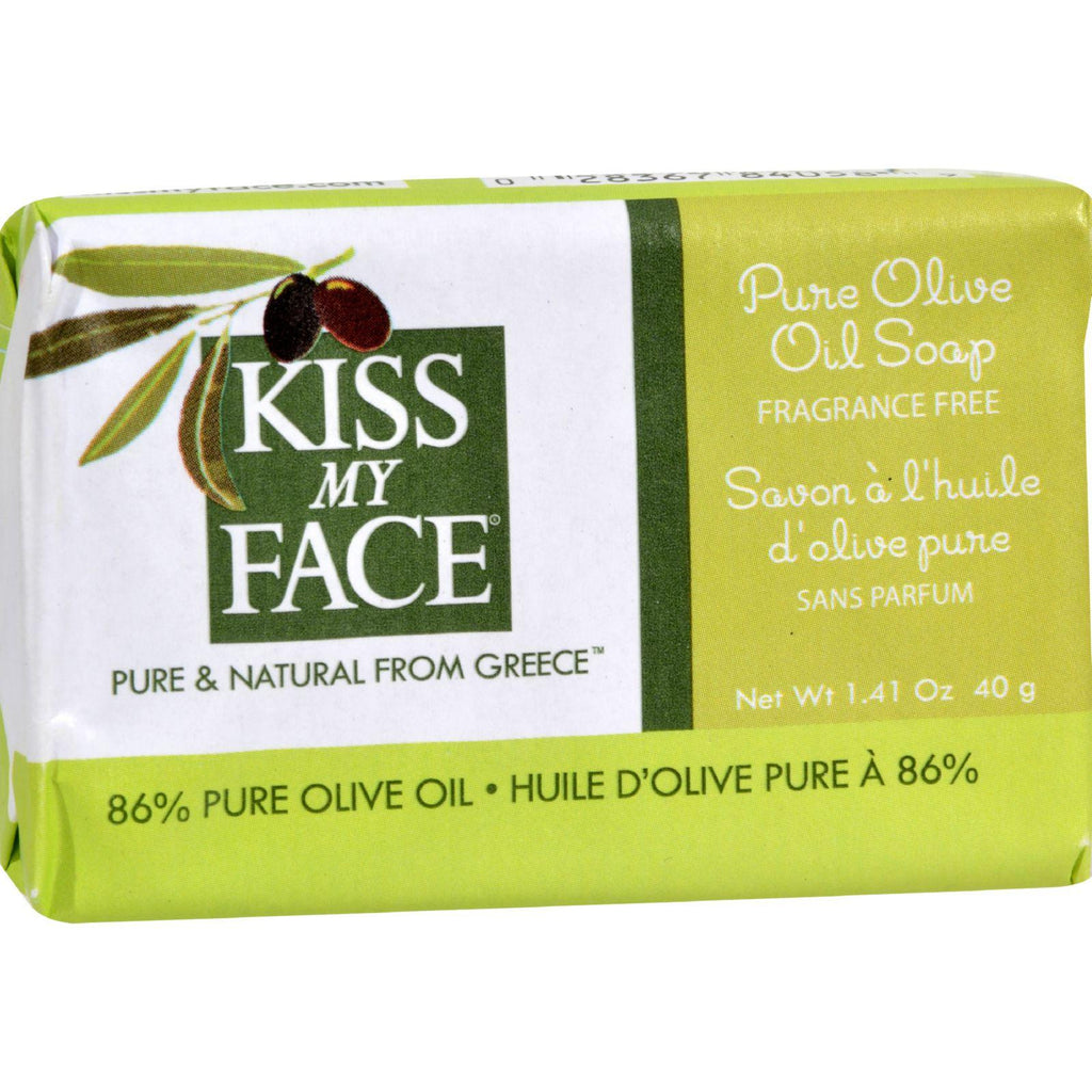 Kiss My Face Bar Soap - Pure Olive Oil - Travel Size - Pack Of 12 - 1.41 Oz-Kiss My Face-pantryperks