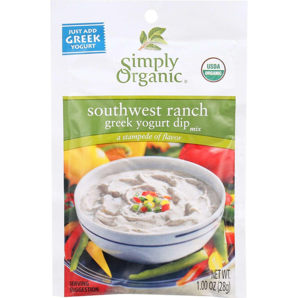 Simply Organic Dip Mix - Organic - Greek Yogurt - Southwest Ranch - 1 Oz - Case Of 12-Simply Organic-pantryperks