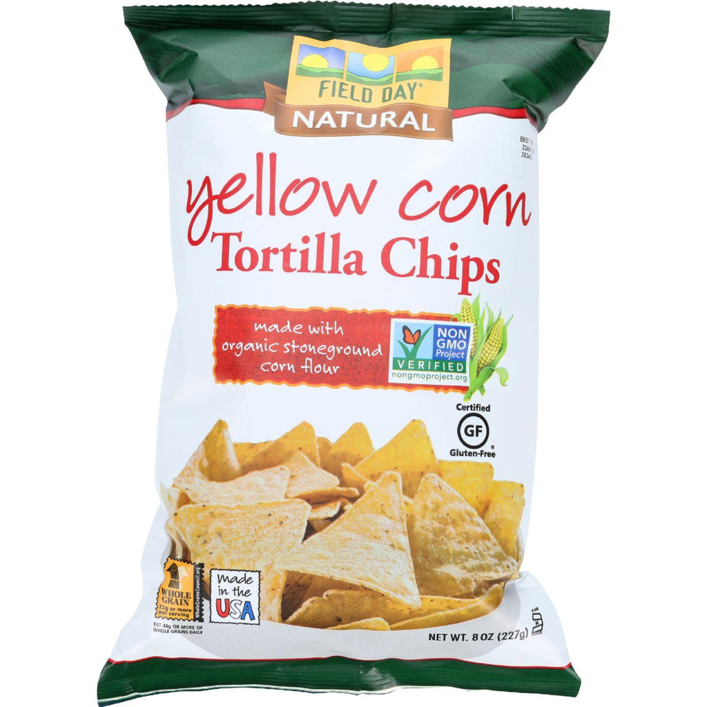 Field Day Tortilla Chips - Organic - Yellow Corn - 8 Oz - Case Of 12-Field Day-pantryperks