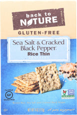 Back To Nature Thin Rice Crackers Sea Salt & Cracked Black Pepper - 4 oz-Back To Nature-pantryperks