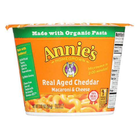 Annie's Macaroni and Cheese - Microwave Cups - Pasta & Real Aged Cheddar Mac and Cheese - 2.01 oz Cup-Annie's Homegrown-pantryperks