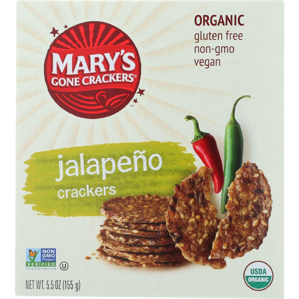 Marys Gone Crackers Crackers - Organic - Hot N Spicy Jalapeno - 5.5 Oz - Case Of 12-Mary's Gone Crackers-pantryperks