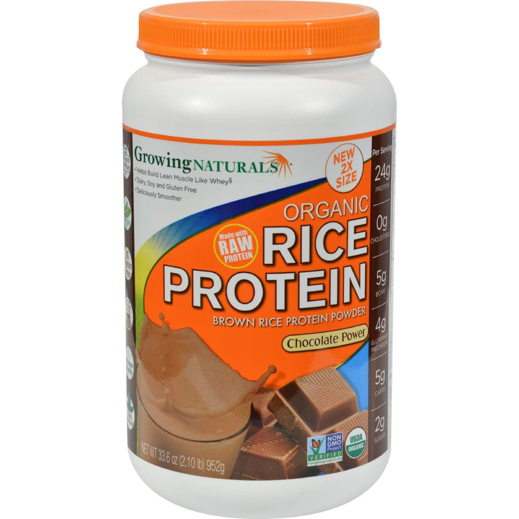 Growing Naturals Rice Protein Powder - Chocolate Power - 33.6 Oz-Growing Naturals-pantryperks