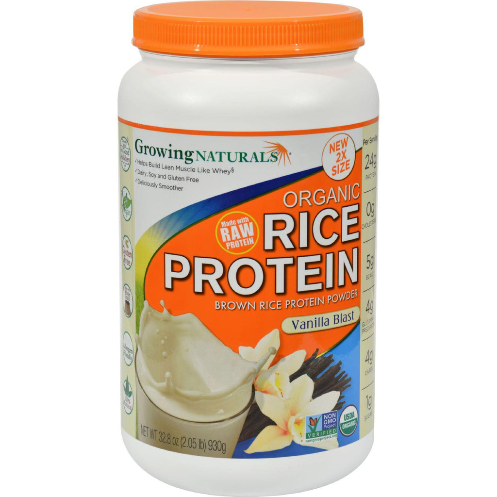 Growing Naturals Rice Protein Powder - Vanilla Blast - 32.8 Oz-Growing Naturals-pantryperks