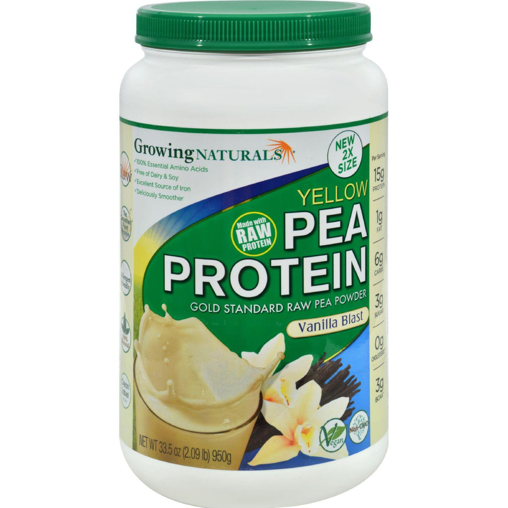 Growing Naturals Pea Protein Powder - Vanilla Blast - 33.5 Oz-Growing Naturals-pantryperks
