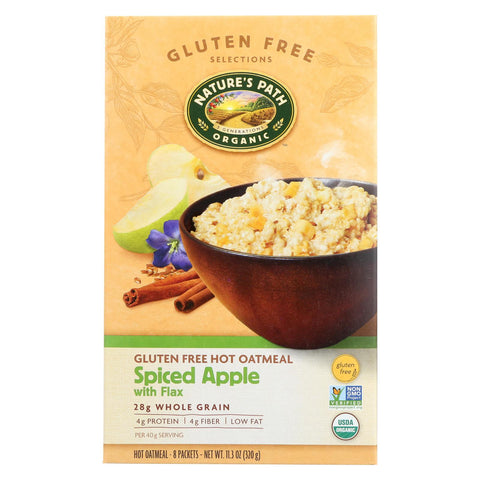 Nature's Path Organic Gluten Free Instant Hot Oatmeal Spiced Apple with Flax - 8 Packets-Nature's Path-pantryperks