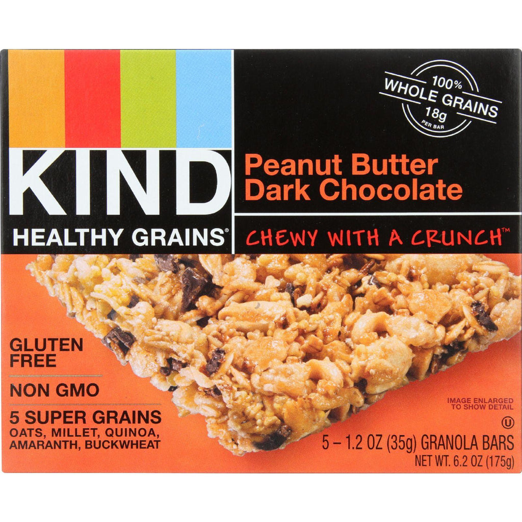 KIND Healthy Grains Granola Bars - Peanut Butter Dark Chocolate - Gluten Free - 1.2 oz Bars - 5 Count-Kind-pantryperks