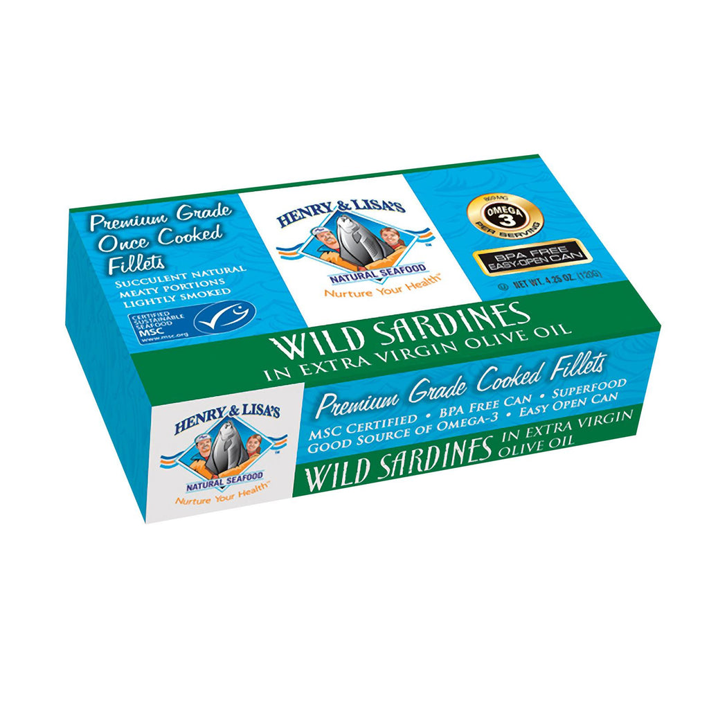 Henry And Lisa's Natural Seafood Wild Sardines In Extra Virgin Olive Oil - Case Of 12 - 4.25 Oz.-Henry And Lisa's Natural Seafood-pantryperks