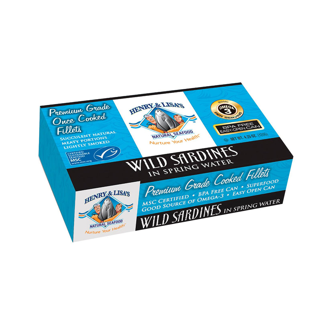 Henry & Lisa's Natural Seafood Wild Sardines in Spring Water - 4.25 oz-Henry And Lisa's Natural Seafood-pantryperks