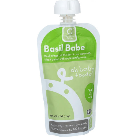 Oh Baby Foods Organic Baby Food - Puree - Level 1 - Basil Babe - 4 Oz - Case Of 6-Oh Baby Foods-pantryperks