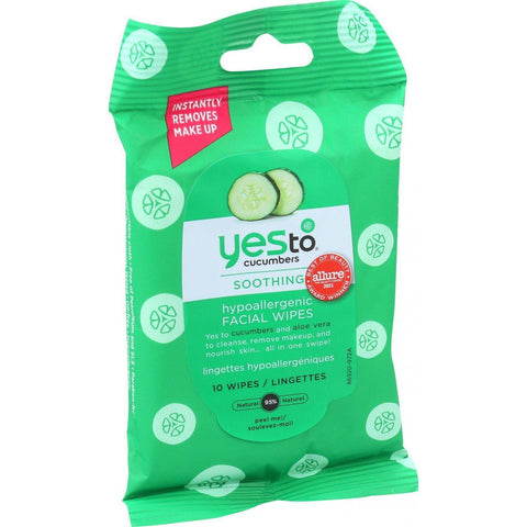 Yes To Inc Yes to Cucumbers Hypoallergenic Travel Facial Towelettes - 10 Towelettes-Yes To-pantryperks