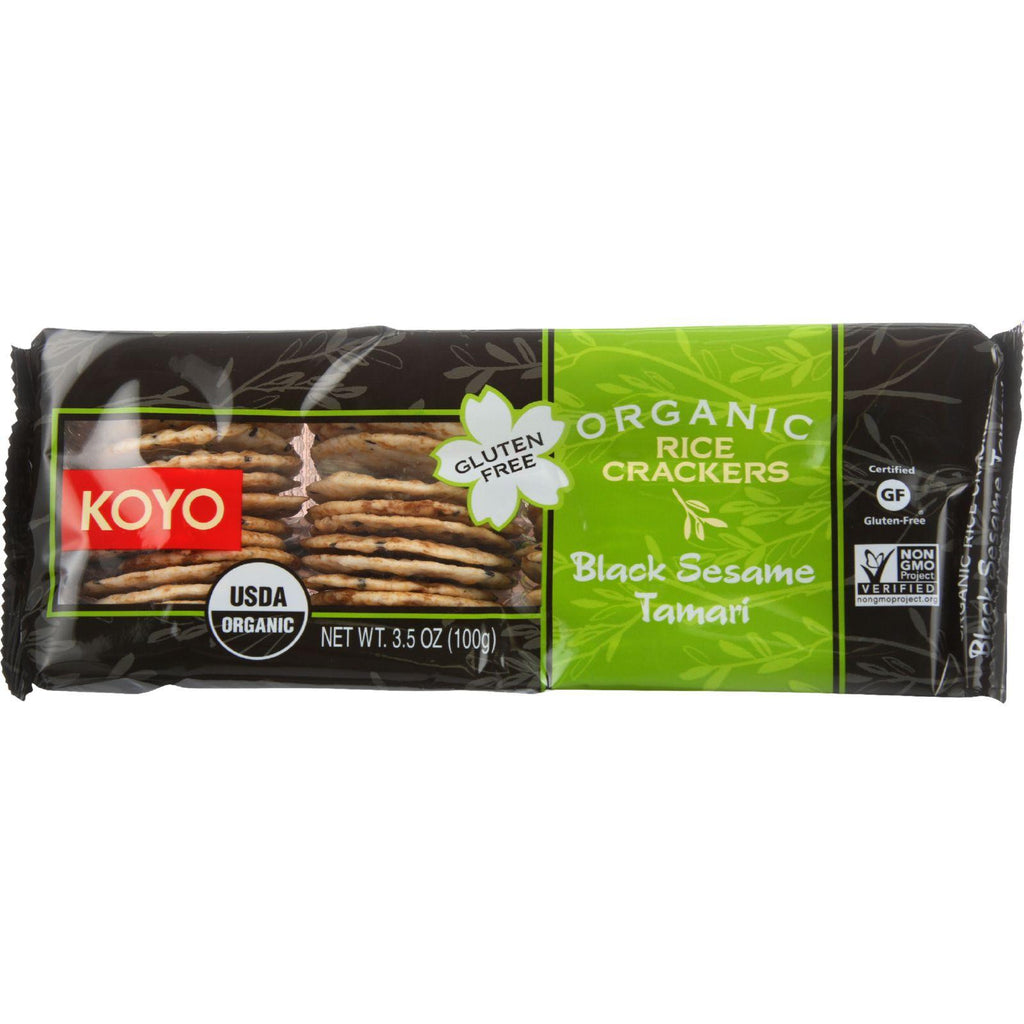 Koyo Rice Crackers - Organic - Black Sesame Tamari - 3.5 Oz - Case Of 12-Koyo-pantryperks