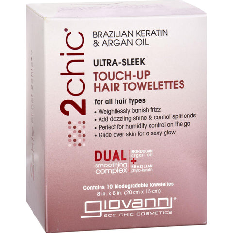 Giovanni Hair Care Products Touch Up Hair Towelette - 2chic Ultra Sleek - 10 Ct-Giovanni Hair Care Products-pantryperks