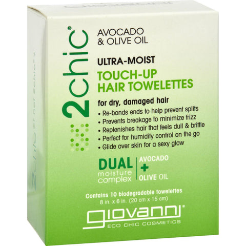 Giovanni Hair Care Products Touch Up Hair Towelette - 2chic Ultra Moist - 10 Ct-Giovanni Hair Care Products-pantryperks