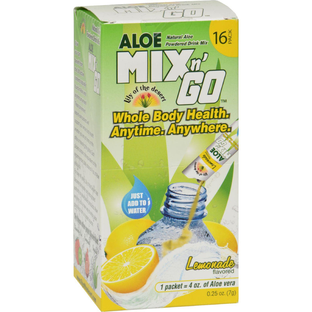 Lily Of The Desert Aloe Drink Mix - Mix N Go Lemonade - 16 Packets-Lily Of The Desert-pantryperks