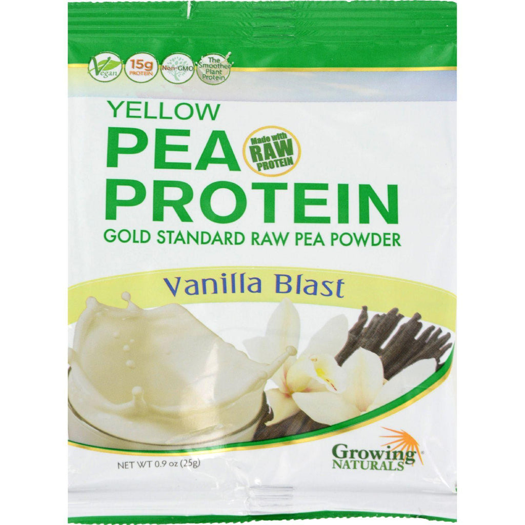Growing Naturals Pea Protein Powder - Vanilla Blast Single Serve Packet - .9 Oz - Case Of 12-Growing Naturals-pantryperks