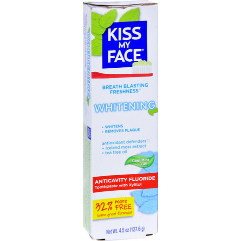 Kiss My Face Toothpaste - Whitening - Anticavity Fluoride - Gel - 4.5 Oz-Kiss My Face-pantryperks