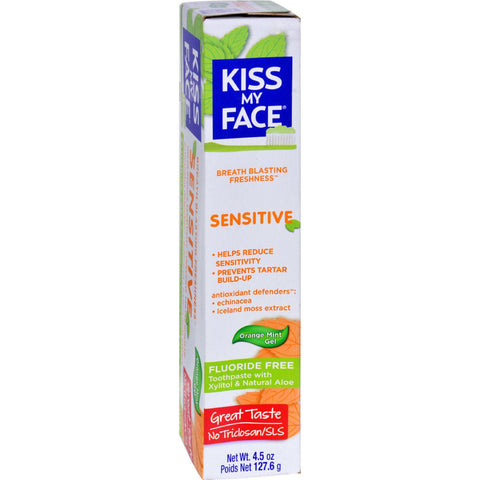 Kiss My Face Natural Aloe Toothpaste with Xylitol Sensitive Orange Mint Gel - 4.5 oz-Kiss My Face-pantryperks