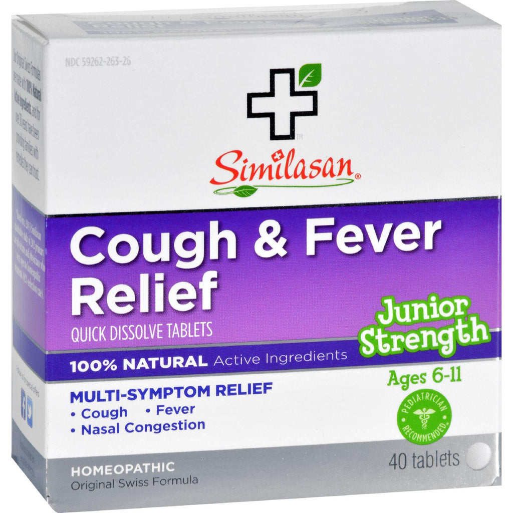 Similasan Cough And Fever Relief - Junior Strength - Ages 6 To 11 - 40 Tabs-Similasan-pantryperks