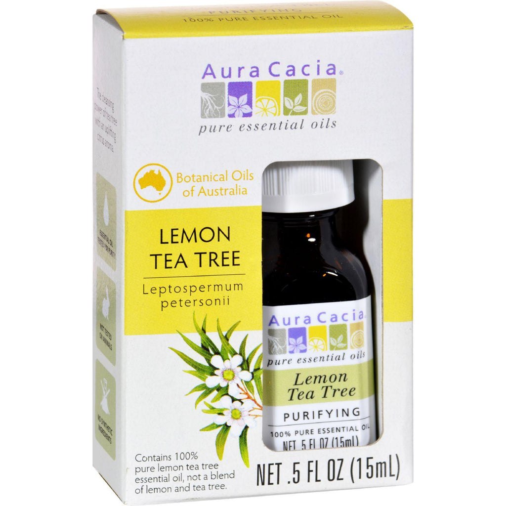 Aura Cacia Essential Oil - Pure - Lemon Tea Tree - .5 Fl Oz-Aura Cacia-pantryperks