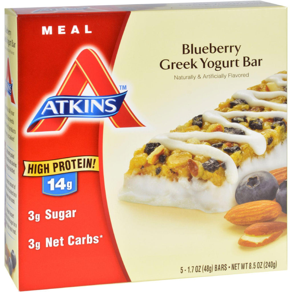 Atkins Advantage Bar - Blueberry Greek Yogurt - 5 Ct - 1.7 Oz - 1 Case-Atkins-pantryperks