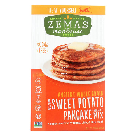 Zemas Madhouse Food Pancake And Waffle Mix - Peruvian Sweet Potato - Case Of 6 - 9.66 Oz.-Zemas Madhouse Food-pantryperks