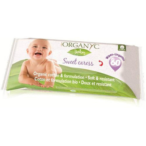 Organyc Baby Wipes - 100 Percent Organic Cotton - Sweet Caress - 60 Count-Organyc-pantryperks