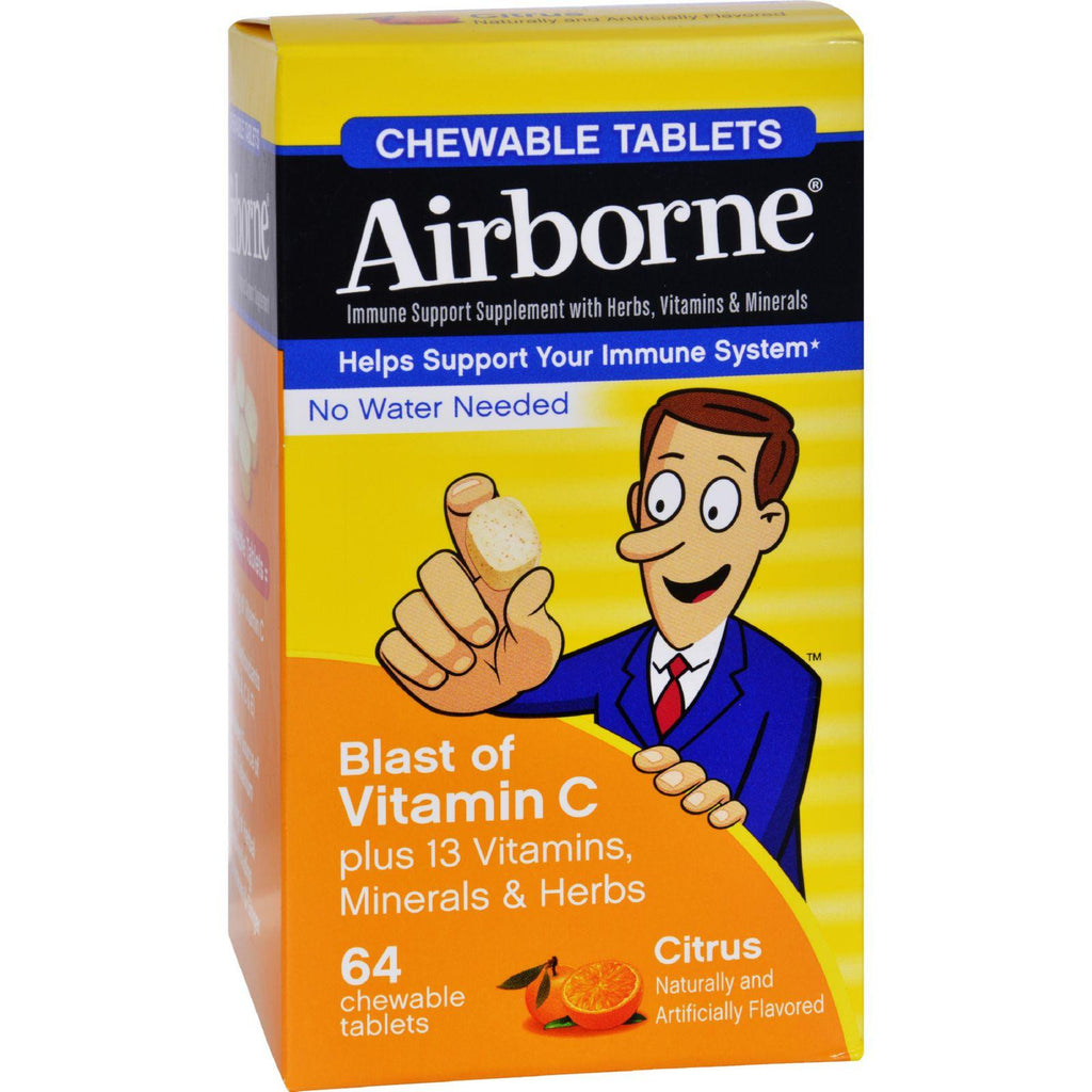 Airborne Chewable Tablets With Vitamin C - Citrus - 64 Tablets-Airborne-pantryperks
