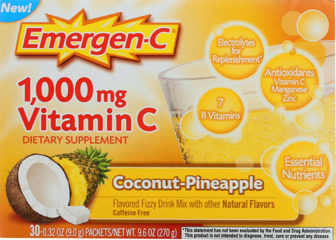 Emergen-C Vitamin C Fizzy Drink Mix Coconut-Pineapple - 1000 mg - 30 Packets-Emergen-c-pantryperks