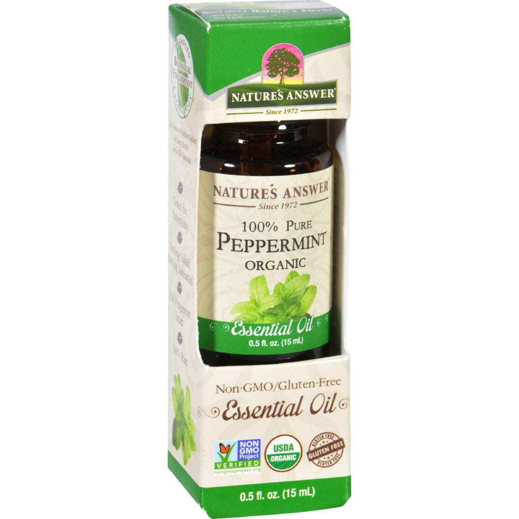 Natures Answer Essential Oil - Organic - Peppermint - .5 Oz-Nature's Answer-pantryperks