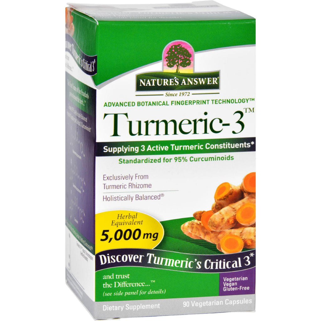 Natures Answer Turmeric-3 - 90 Vegetarian Capsules-Nature's Answer-pantryperks