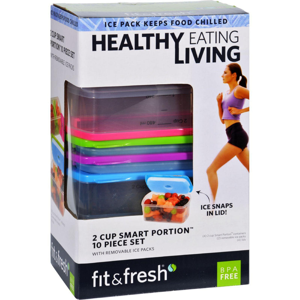 Fit And Fresh Containers - Healthy Living - Smart Portion - 2 Cup Size - 10 Pieces-Fit And Fresh-pantryperks