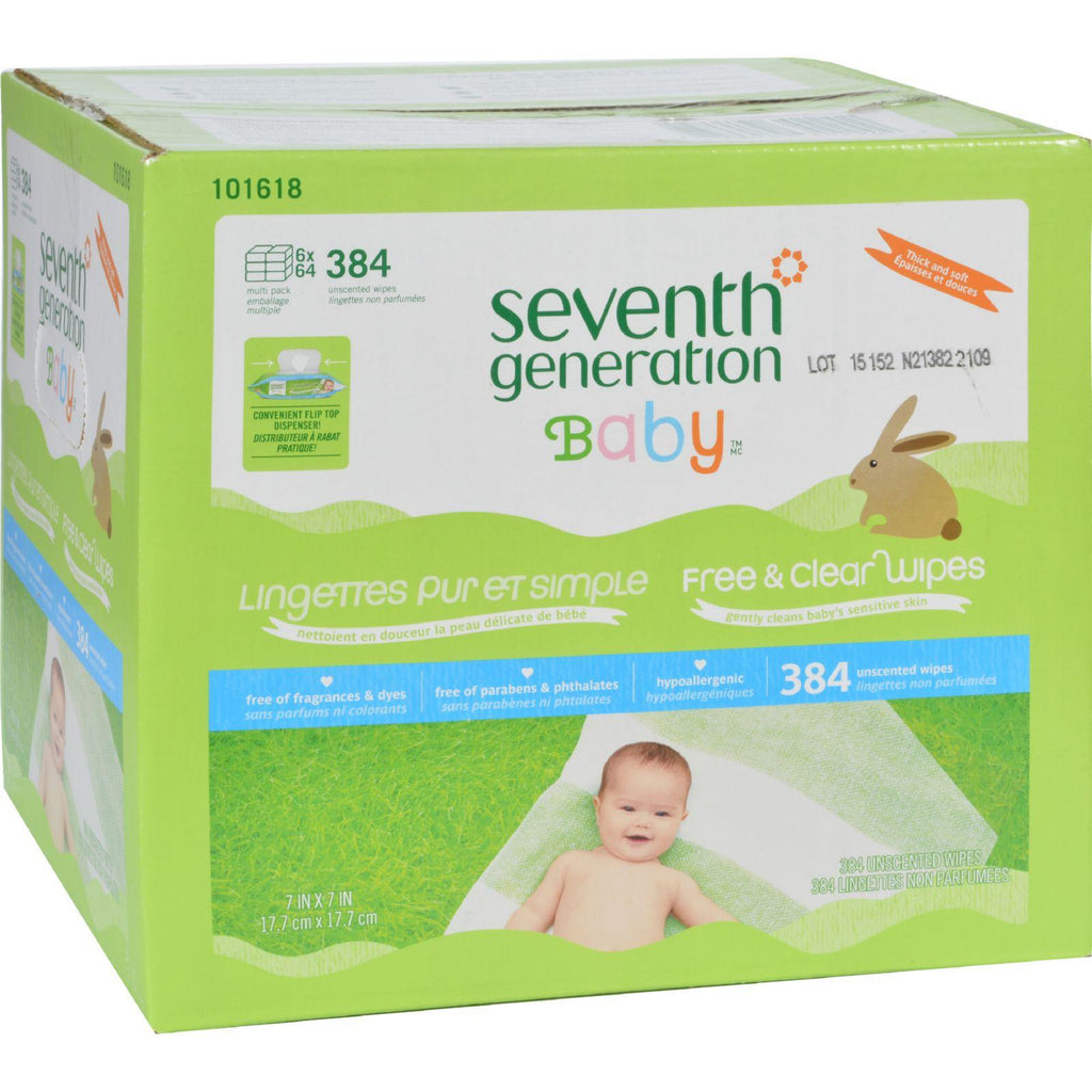 Seventh Generation Baby Wipes - Free And Clear - Multipack - 64 Wipes Each - 6 Count-Seventh Generation-pantryperks