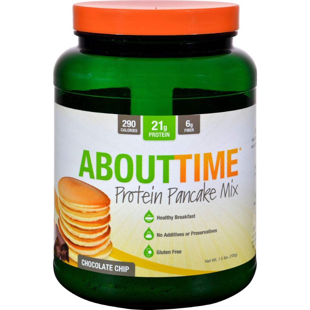 About Time Protein Pancake Mix - Chocolate Chip - 1.5 Lb-About Time-pantryperks