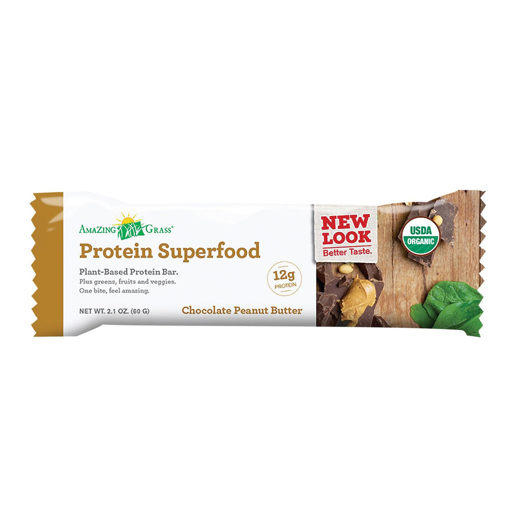 Amazing Grass Superfood Protein Bar - Chocolate Peanut Butter - Case Of 12 - 2.2 Oz.-Amazing Grass-pantryperks