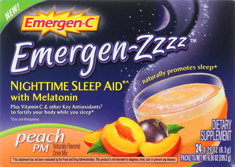 Emergen-C Emergen-Zzzz䋢 Nighttime Sleep Aid with Melatonin Peach PM - 24 Packets-Emergen-c-pantryperks