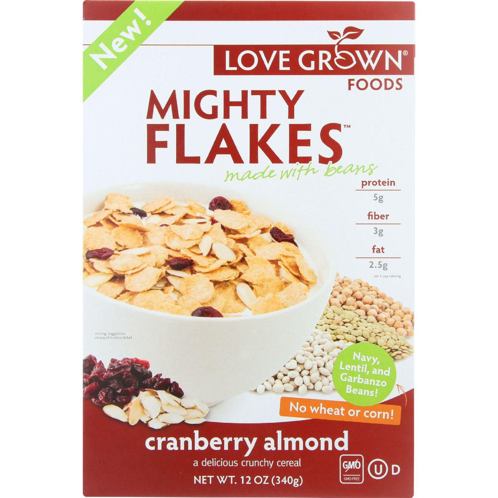 Love Grown Foods Cereal - Mighty Flakes - Cranberry Almond - 12 Oz - Case Of 6-Love Grown Foods-pantryperks