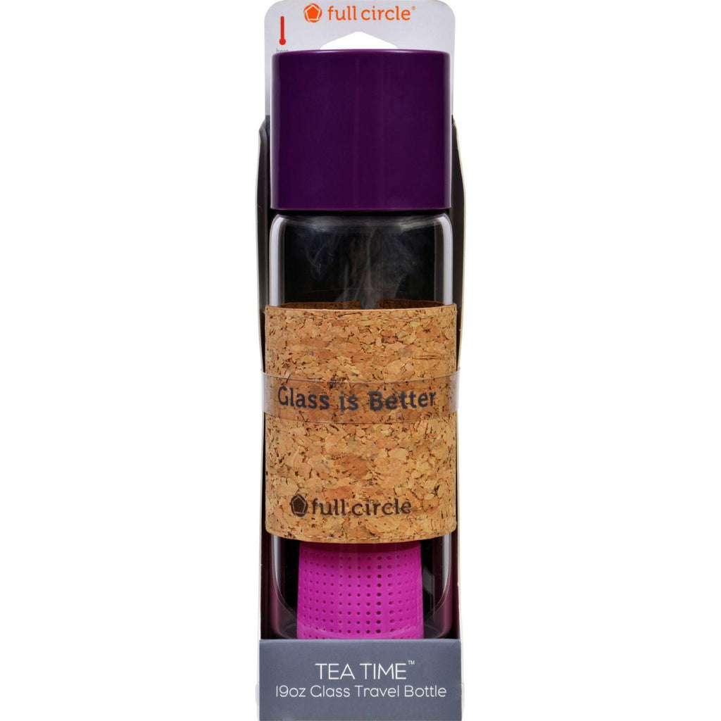 Full Circle Home Tea Bottle - Travel - Glass - Tea Time - Elderberry - 19 Oz-Full Circle Home-pantryperks