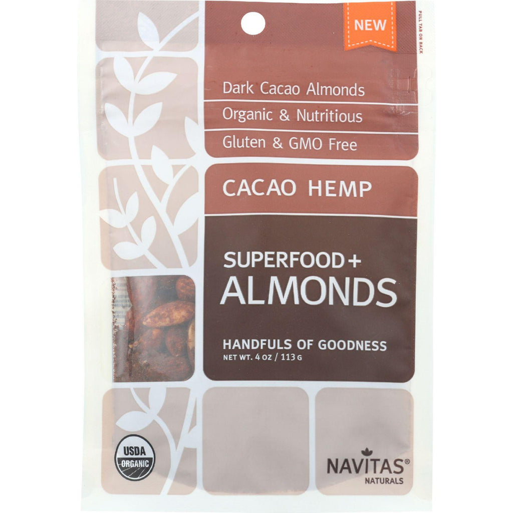 Navitas Naturals Almonds - Organic - Superfood Plus - Cacao Hemp - 4 Oz - Case Of 12-Navitas Naturals-pantryperks