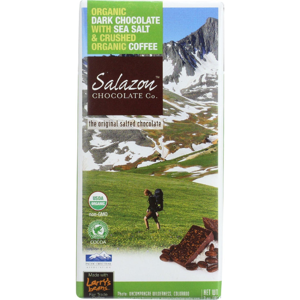 Salazon Chocolate Bar - Organic - 57 Percent Dark Chocolate - Sea Salt And Coffee - 2.75 Oz - Case Of 12-Salazon Chocolate-pantryperks