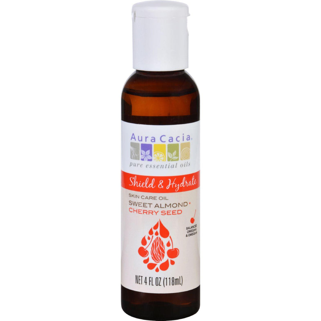 Aura Cacia Skin Care Oil - Shield And Hydrate - Sweet Almond Plus Cherry Seed - 4 Oz-Aura Cacia-pantryperks