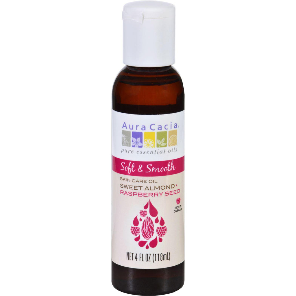 Aura Cacia Skin Care Oil - Soft And Smooth - Sweet Almond Plus Raspberry Seed - 4 Oz-Aura Cacia-pantryperks