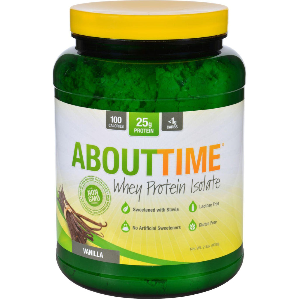 About Time Whey Protein Isolate - Vanilla - 2 Lb-About Time-pantryperks