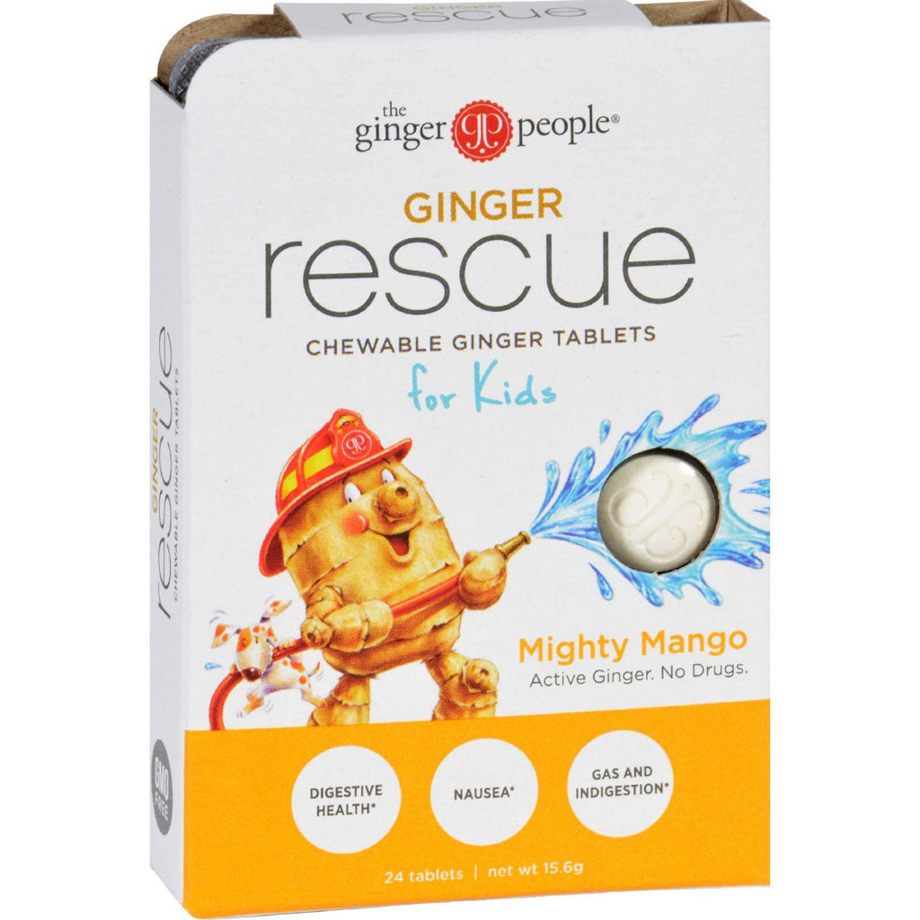 Ginger People Ginger Rescue For Kids - Mighty Mango - 24 Chewable Tablets - Case Of 10-Ginger People-pantryperks