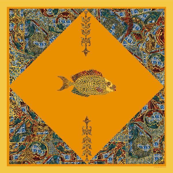 Yellow Fish Silk Chiffon Scarf