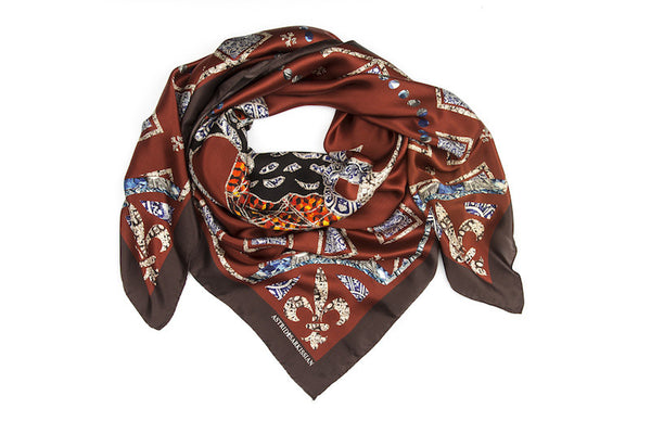 Duck Marron Silk Satin Scarf