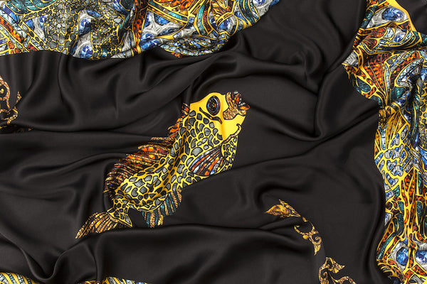 Fish 2 Yellow BG Black Silk Scarf