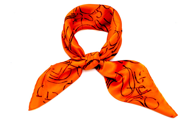 Aybuben Orange Silk Satin Bandana