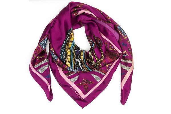 Crowns Pink Silk Satin Scarf