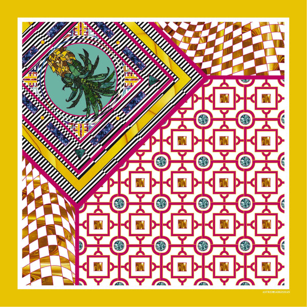 Ananas Yellow Silk Scarf
